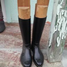 Cizme de piele ofițerești - Cizme barbati, Marime: 42, Culoare: Negru