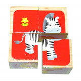 Cuburi puzzle din lemn cu 6 animale