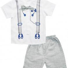 Costumas alb gri pentru baieti cu pantaloni camasa si papion HBT50