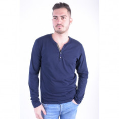 Bluza Bumbac Selected Gus Split Neck Maritime Navy