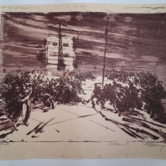 LITOGRAFIE MARCEL CHIRNOAGA- CHEFUL, Abstract, Cerneala