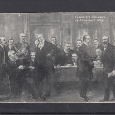 CONFERINTA BALCANICA IN BUCURESTI 1913 TITU MAIORESCU TAKE IONESCU MARGHILOMAN - Carte postala tematica, Necirculata, Printata