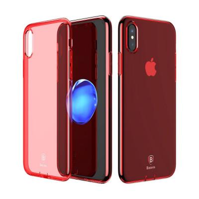 Carcasa protectie spate din gel TPU cu dopuri anti-praf pentru iPhone X 5.8 inch, rosie foto