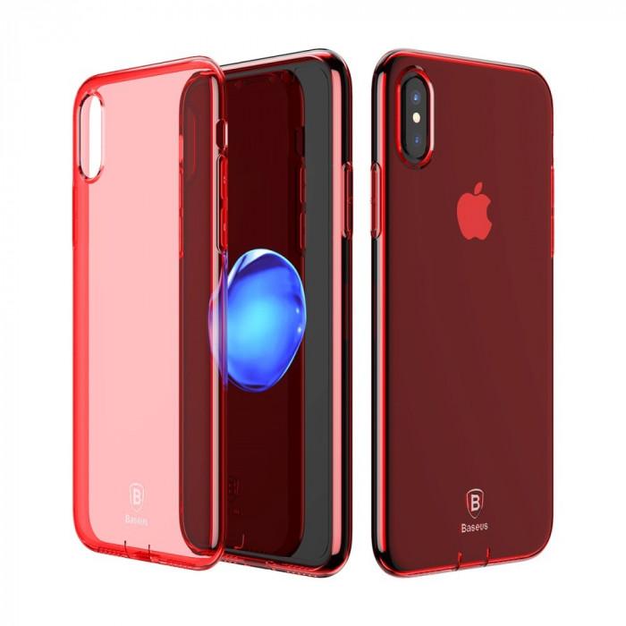 Carcasa protectie spate din gel TPU cu dopuri anti-praf pentru iPhone X 5.8 inch, rosie foto mare