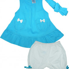 Rochie albastra Carters cu bentita si pantaloni HF268, Marime: 12-18 luni, 1-2 ani