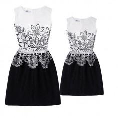Rochie alb cu negru pentru fetite MF4A
