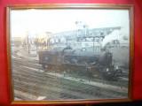 Fotografie veche , inramata- Locomotiva cu aburi , dim. 34,8x27 cm ,Blenheim