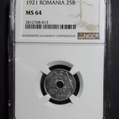 25 bani 1921 UNC NGC MS 64 A - Moneda Romania