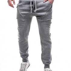 Pantaloni pentru barbati de trening, gri-deschis, cu banda jos, semi-tur, siret, bumbac - P184 - Pantaloni barbati, Marime: S, M, L, XL, XXL