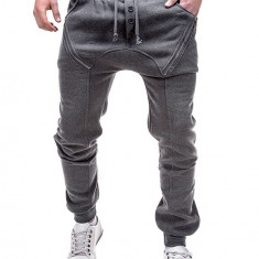 Pantaloni pentru barbati de trening, gri-inchis, cu banda jos, semi-tur, siret, bumbac - P184 - Pantaloni barbati, Marime: S, M, L, XL