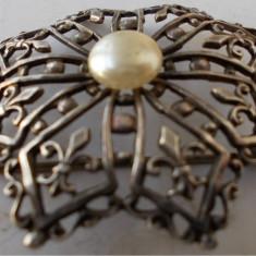 Brosa veche din argint cu perla - de colectie - Brosa argint