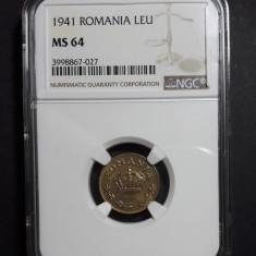 1 leu 1941 UNC NGC MS 64 - Moneda Romania