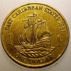 2.099 EAST CARIBBEAN STATES 1 ONE DOLLAR 1981, America Centrala si de Sud