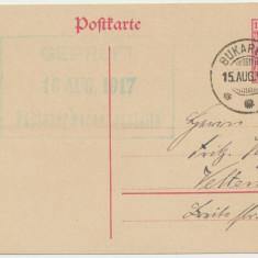 ROMANIA 1917 ocupatia germana intreg postal sursarj MViR stampilat si cenzurat