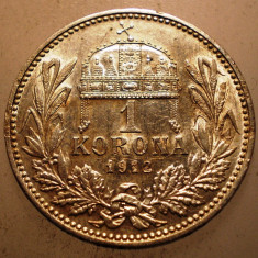 2.215 UNGARIA FERENCZ JOZSEF 1 KORONA 1912 ARGINT 5g, Europa