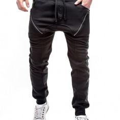 Pantaloni pentru barbati de trening, negru, cu banda jos, semi-tur, siret, bumbac - P184 - Pantaloni barbati, Marime: S, M, L