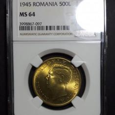 500 lei 1945 UNC NGC MS 64 - Moneda Romania