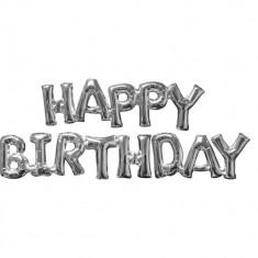 Pachet baloane medii folie Happy Birthday argintiu, Amscan 36097 - Baloane copii