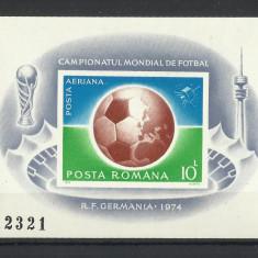 Romania MNH 1974 - colita nedantelata - CM de fotbal Muenchen Germania - LP 853 - Timbre Romania, Nestampilat
