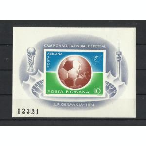 Romania MNH 1974 - colita ndt - CM  fotbal Germania - LP 853 - citeste descr