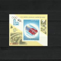 Romania MNH 1979 - colita nedantelata - JO de iarna LAke Placid - LP 999 - Timbre Romania, Nestampilat