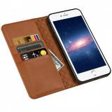 Husa Premium iPhone 8+ Plus - ZOVER Genuine Leather Case Wallet - Husa Telefon, Maro, Piele, Cu clapeta, Carcasa
