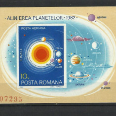 Romania MNH 1981 - colita nedantelata - Alinierea planetelor - LP 1035 - rar - Timbre Romania, Nestampilat