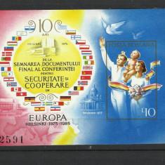 Romania MNH 1985 - colita nedantelata - CSCE Helsinki 10 ani - LP 1126 - Timbre Romania, Nestampilat