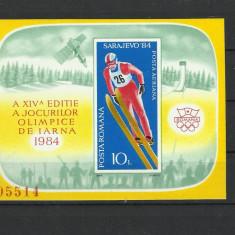 Romania MNH 1984 - colita nedantelata - JO de iarna Sarajevo - LP 1092 - rar - Timbre Romania, Nestampilat