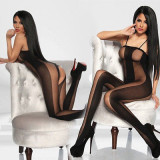 Lenjerie Lady Lust Sexy Babydoll Underwear BodyStocking Black Open Crotch, Negru, One size