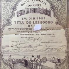 50 000 lei Renta Improprietaririi 1922 obligatiune la purtator