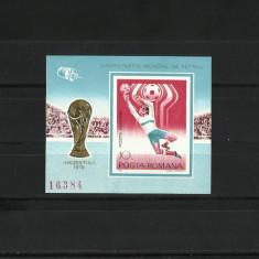 Romania MNH 1978 - colita nedantelata - CM de fotbal Argentina - LP 956 - Timbre Romania, Nestampilat