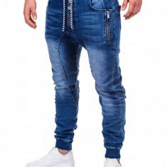 Blugi pentru barbati, albastri cu siret, elastici, slim fit, banda jos - P198, S, Albastru, Lungi