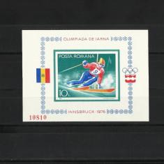 Romania MNH 1976 - colita nedantelata - JO de iarna Innsbruck - LP 903 - Timbre Romania, Nestampilat