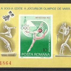 Romania MNH 1980 - colita nedantelata - JO de vara Moscova - LP 1013 - Timbre Romania, Nestampilat