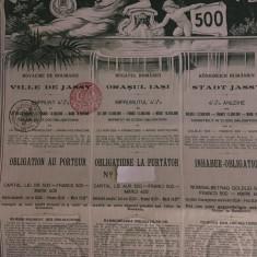 500 Lei Aur Jassy (Iasi) 1906 obligatiune la purtator cu cupoane neincasate
