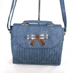 Geanta dama albastra cu fundita+CADOU, Din imagine, Medie