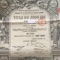 2500 Lei Aur Titlu obligatiune cu cupoane neincasate emisa in anul 1913