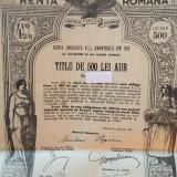 500 Lei Aur Renta Romana 1929 Obligatiune