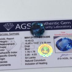Safir albastru 19.40ct Sri Lanka natural cu certificat