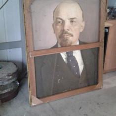 Pictura veche portret de Lenin ulei pe panza  1930, Portrete, Realism