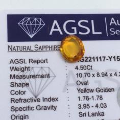 Safir 4.50ct galben auriu natural cu certificat