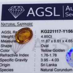 Safir 4.85 ct natural galben auriu cu certificat