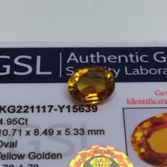 Safir 4.95 ct galben auriu natural cu certificat