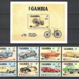 GAMBIA 1986 - AUTOMOBILE DE EPOCA - SERIE DE 8 TIMBRE+BLOC NESTAMPILAT - MNH - COTA MICHEL : 31 E / auto97