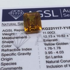 Safir 11.00 ct galben auriu natural cu certificat