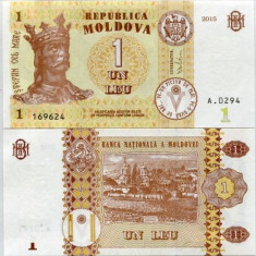 REPUBLICA MOLDOVA- 1 LEU 2015- UNC!!
