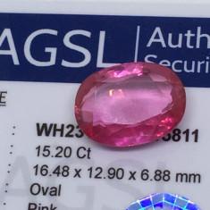 Safir roz 15.20ct natural Sri Lanka cu certificat