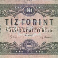 UNGARIA 10 forint 1969 VF!!! - bancnota europa