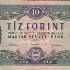 UNGARIA 10 forint 1962 VF!!! - bancnota europa